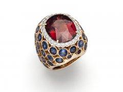 Granat, Brillanten, Saphir, 750/000 Rosé-Gold